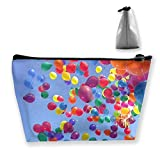 Makeup Bag Cosmetic Balloons Cloud Sky Portable Cosmetic Bag Mobile Trapezoidal Storage Bag Travel Bags with Zipper
