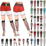 Women's Leggings Christmas Santas Snowman Print Ankle Elastic Tights Xmas Yoga Pants Stretchy Capris for Yoga Running Gym(A#Red,XX-Large)