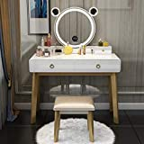 CHARMAID Vanity Set with Lighted Mirror and Bluetooth Speaker, 3 Color Touch Screen Dimming Mirror with Display, 4 Drawers with Jewelry Organizer, Bedroom Makeup Dressing Table with Cushioned Stool