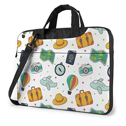 15.6 inch Laptop Shoulder Briefcase Messenger Cartoon Hot Air Balloon Luggage Map Passport Tablet Bussiness Carrying Handbag Case Sleeve