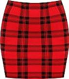 WearAll - Imprimé Extensible elastiqué Jersey Court Mini-Jupe Moulant - Rouge Tartan - 40-42