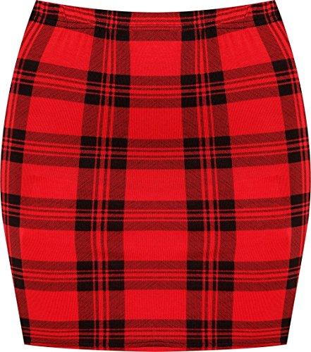 WearAll - Damen Bedruckt Dehnbar Jersey Figurbetontes Kurz Mini-Rock - Rot Tartan - 36-38