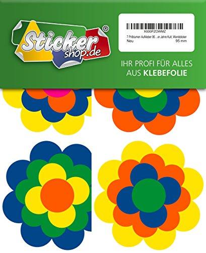 7 Prilblumen Aufkleber 95 mm, Retro Style 70er Jahre Kult, Wandsticker