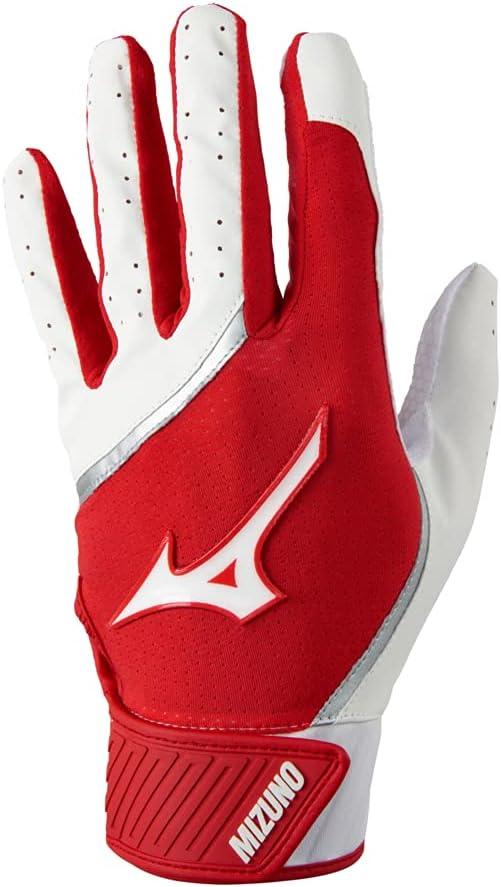 Mizuno MVP Youth Baseball Batting Glove, White-Red, Medium