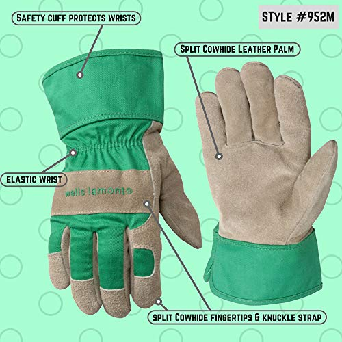 Kids Work and Garden Gloves with Safety Cuff, Fits Youth Ages 5-8 (Wells Lamont 952M)
