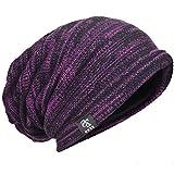 ニット帽 レディース 大きいサイズ ニットキャップ オールシーズン ゆったり ゆるシルエットのニット帽 編み織の帽子 ビーニー ミクスカラー 伸縮性 ロング ラインリング H-B5001 (パープル)