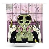Coxila Alien Smoking Shower Curtain Trend Hip Hop Insist Decoration Bathtub People Area Poison Purple Typo 60 x 72 Inch Polyester Fabric Waterproof 12 Pack Plastic Hooks
