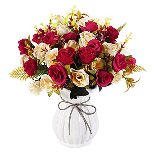 Künstliche Rosen mit Vase 4 Blumensträuße künstliche Blumen zur Dekoration Seidenrosen Arrangements für Hochzeitsfeier Home Office Küchentisch Herzstück