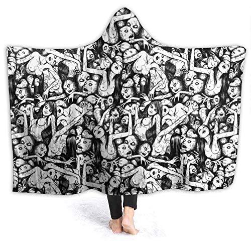 Soft Tomie Jun Ji Ito Manta de Halloween para vestir con capucha, manta con capucha, cálida felpa para mujeres, hombres, invierno, novedad, manta para reloj, TV, sofá, cama, 50 x 40 pulgadas, pequeñ