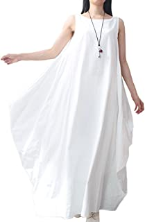Women Maxi Sleeveless Dress Plus Size Pockets Loose Swing Tank Tunic Dress White/Red