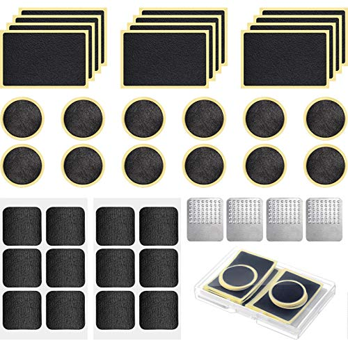 40 Pieces Bicycle Tire Repair Kit Includes 36 Pieces Glueless Bike Tube Patches Self Adhesive Bicycle Tire Patches Included Round Square Rectangle and 4 Pieces Metal Rasps for Road Mountain Bikes