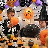 75 pcs Halloween Luftballons Girlande, Orange Schwarz Luftballons Kürbis Ballon Dekorationen, Schwarzer Fledermaus Konfettiballon Helium Balloon für Halloween party Dekoriert Tischdeko Geburtstagdeko - 6
