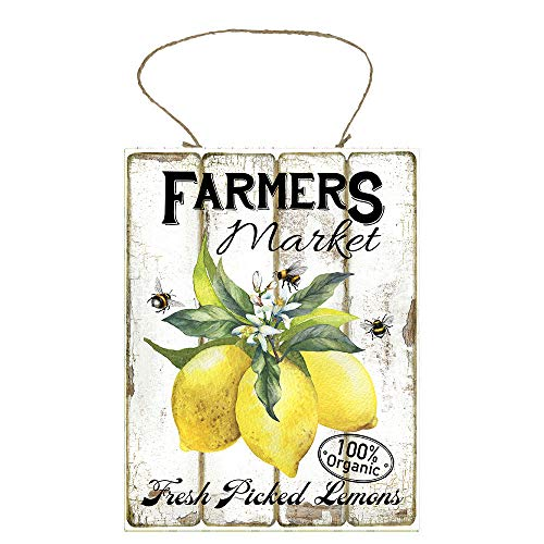 Twisted R Design Farmhouse Honey Bees and Lemons Hanging Wood Wall Sign (Farmers Market Fresh Picked Lemons)