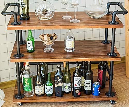 Industrial Bar Carts/Serving Carts/Kitchen Carts/Wine Rack Carts on Wheels with Storage - Industrial...