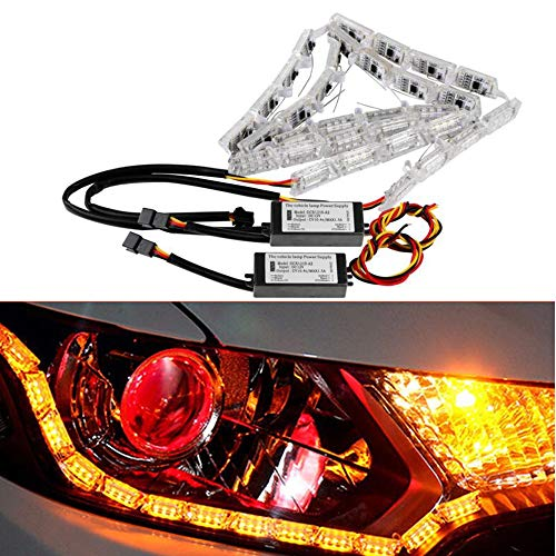 OurLeeme 2pcs 50cm-69cm Flexible Car LED Blanc/Ambre DRL Flowing Tourner Singal Light Strip ANTIBROUILLARD Lumières phares 12V