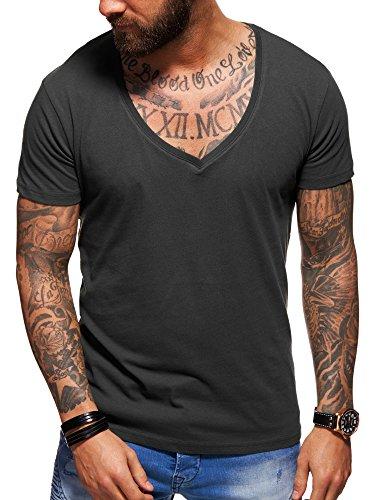 behype. Herren Kurzarm Basic T-Shirt Deep V-Neck 20-0005 Dunkelgrau M