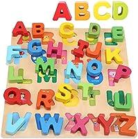 Jacootoys alfabet i trä för småbarn Stor storlek stora bokstäver Tidigt lärande Sticksågbräda Montessori Pedagogisk...