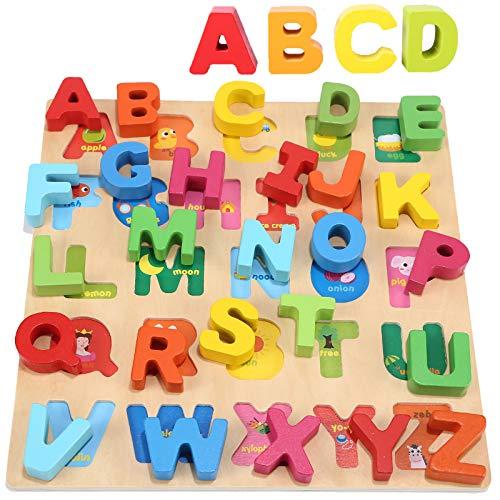 Jacootoys Alfabeto Puzzle de Madera ABC Tablero de Rompecabezas Grueso Aprendizaje Temprano Juguetes Educativos Regalo para Niños