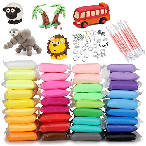 Magic Clay 36 Colors, HB HOMEBOAT Air Dry Clay for Kids with Clay Tools Set Accessories, Play Model Magical Clay for Girls Ages 10-12