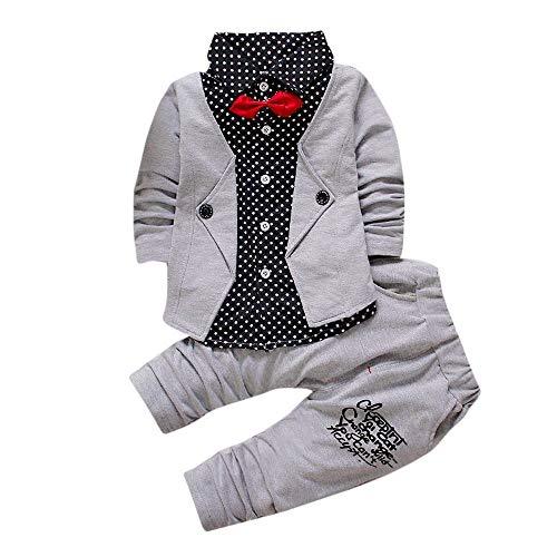 Nvfshreu - Conjunto de ropa para bebé y niño, manga larga, con camiseta, lazo en forma de T, corbata, pantalón de estilo sencillo, para fiestas, cumpleaños, recién nacidos, niños, caballeros, festivos, bautizos, etc. gris 12 meses