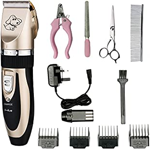 Electric Pet Grooming Clippers,I-live Rechargeable Cordless Pet Fur Grooming Trimmer Kit set,Low Noise Low Vibration,Professional Pet Dogs and Cats Grooming Trimmer Kit:Isfreetorrent