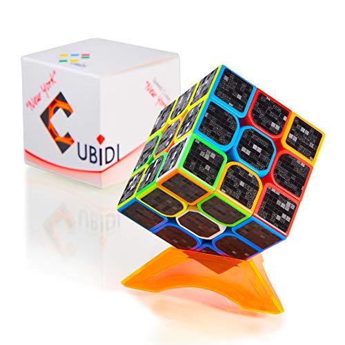 CUBIDI® 3x3 Zauberwürfel mit Carbon-Sticker - Hochwertiger Speed-Cube mit optimierten Eigenschaften für Speed-Cubing - für Anfänger und Fortgeschrittene