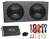 2) Boss CH10DVC 10' 3000W Car Subwoofers Subs+Sealed Box Enclosure+Amp+Amp Kit