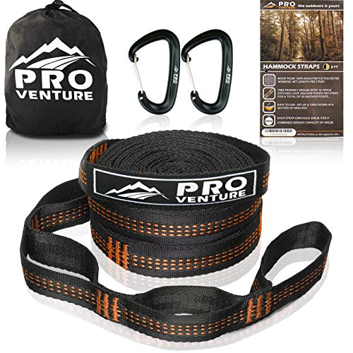 Pro Hammock Tree Straps with CARABINERS – 400LB Rated (1200LB Tested), Adjustable 30+2 Loops, Non-Stretch, Easy Setup, Heavy Duty, Tree Friendly