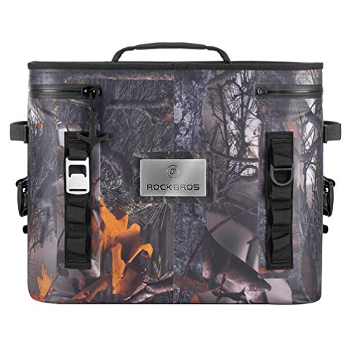ROCKBROS Soft Cooler 30 Can Insulated Leak Proof Soft Pack Coolers Waterproof Soft Sided Cooler Bag for Camping, Fishing, Road Beach Trip, Golf, Picnics (Camo)