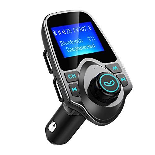 Manos Libres Bluetooth Transmisor FM Coche de VicTsing, Bluetooth Coche Musica FM Transmisor,Reproductor MP3 Coche, Adaptador de Radio, 1.44 Pulgadas Cargador de Coche de USB-Gris