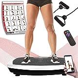 POWRX Vibrationsplatte Basic Duo inkl. Workout I Fitness Trainingsgerät inkl. Fernbedienung und Tubes Widerstandsbänder I Große rutschfeste Fläche für Ganzkörper Training (Schwarz-Weiß)