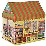 HOMCOM Tienda de Campaña Infantil Tienda de Juegos de Supermercado para Niños Mayores de 3 Años con Ventanas Gran Espacio 93x69x103 cm Amarillo