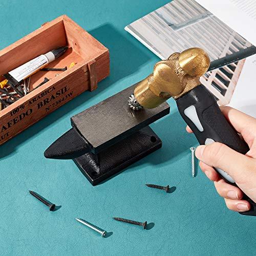 PH PandaHall 1.6 Lb Horn Anvil Bench Block Small Iron Single Horn Base Jeweler Blacksmith Tool for Jewelry Making, Black