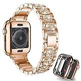CHENPENG Compatible avec la série Apple Watch 6/5/4/3/2/1 en métal Mince Strass Diamant Bracelet...