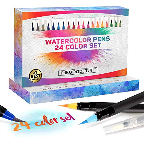 The Good Stuff Watercolor Brush Pens Set (24 Color Starter Set), Simply Create Beautiful Works of Art, Paint Brush Pens, Water Color Pens Nylon Brushes, Paint Brush Pens, Watercolor Markers Brush Tip