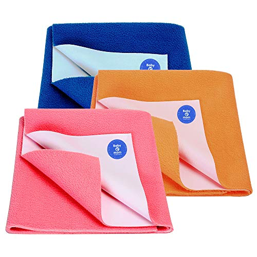 BABY & MOM COMPANY® New Born Combo Waterproof Cotton Bed Sheet Coral + Royal Blue + Peach 3 Small Size (50cm X 70cm)
