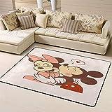 Zmacdk Alfombra cuadrada para el aula de Mickey Minnie Mouse para niños de 5 x 8 pies (150 cm x 240 cm), 3D Mickey Minnie Mouse