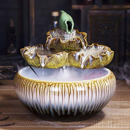 BQSWYD Indoor Tabletop Fountain Ceramic Stacking Tabletop Fountain and Pedestal Zen Interior Decoration Fountain Best Tabletop Decoration Gifts Home Bedroom Decoration