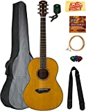 Yamaha CSF1M Parlor Acoustic Guitar - Vintage Natural Bundle with Gig Bag, Tuner,...