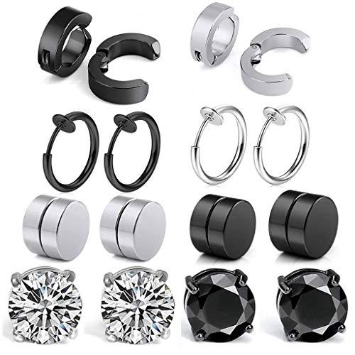 8 Paare Non-Pierced Edelstahl Ohrringe set Schwarz silber Ohrklemmen Magnetische Ohrstecker Ohrringe damen herren Nicht Durchdringende Kreuz CZ Magnet Ohrring Set Creolen