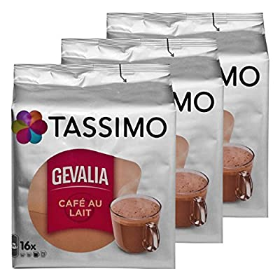Tassimo Gevalia Cafe au Lait 3-Pack, Milk Coffee, Capsules, Roasted Coffee, 48 T-Discs/Servings