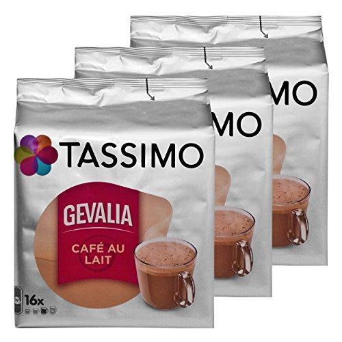 Tassimo Gevalia Cafe au Lait 3er Pack, Milchkaffee, Kaffee Kapseln, gemahlener Röstkaffee, 48 T-Discs / Portionen