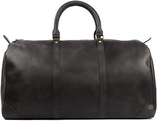 HOLZRICHTER Berlin No 8-2 L - Premium Weekender Reisetasche, Sporttasche & Handgepäck aus Leder - schwarz-anthrazit