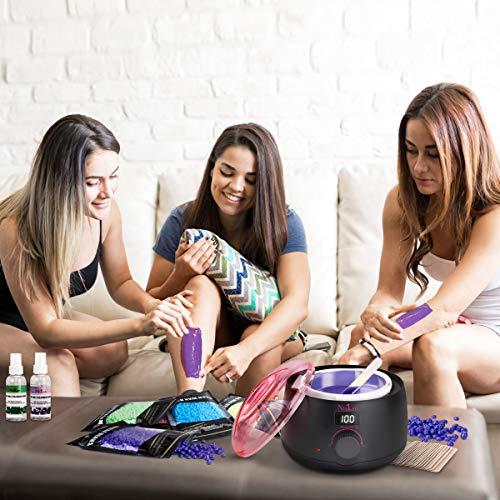 Calentador de Cera Profesional, Nivlan Calentador de Cera Para Cabello con 5 Frijoles Cera Dura y 30 Aplicadores, Kit de Depilación sin Dolor para Cejas Piernas Axilas Faciale Bikini Brasileño en Casa