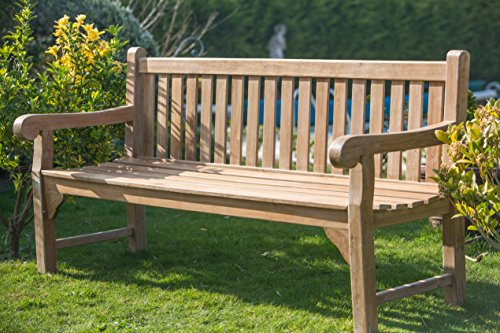 Sustainable Furniture Teak Garden Bench - Big Classic (5ft/ 150cm) Brown