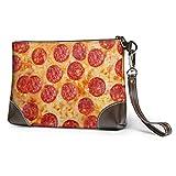 XCNGG Bolso de mano con estampado de pepperoni de pizza 3d, bolso de mano de cuero desmontable, bolso de mano para mujer