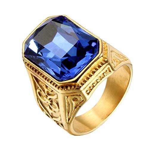 PAURO Hombre Acero Inoxidable Promesa de Boda Vendimia Anillo de Circonia Cúbica con Piedra Grande Oro Azul Claro Tamaño 19