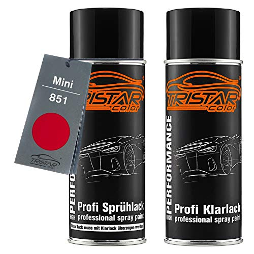 TRISTARcolor Autolack Spraydosen Set für Mini 851 Chili/Solar Red Basislack Klarlack Sprühdose 400ml