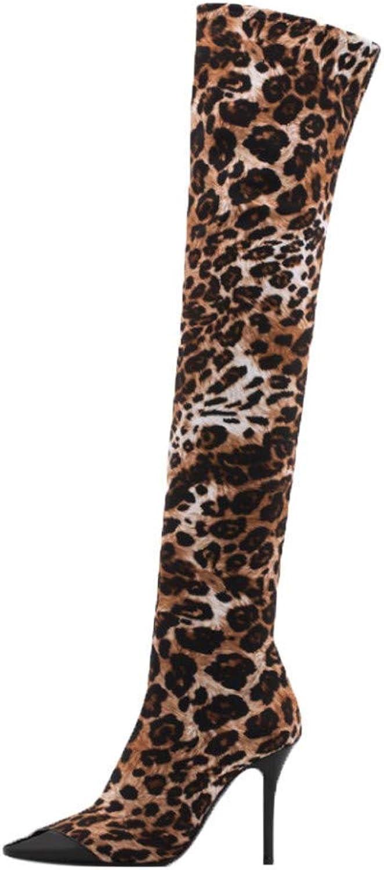 ZHRUI Stiefel Damen Schuhe Stiefeletten Mode Mode Mode Frauen Spitzen Leopard High Heels Schuhe Stilettos über Das Knie Lange Stiefel (Farbe   Braun, Größe   37 EU)  a0e76c