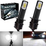 NATGIC H1 LED Bombillas Antiniebla Alta Potencia 75W Chips Integradas 3570 CSP 6500K Xenón Blanco y 2400LM para Bombillas Antiniebla Luz de Conducción Diurna Lámpara de Conducción DRL (Paquete de 2)